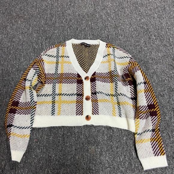 Plaid Button Up Sweater
